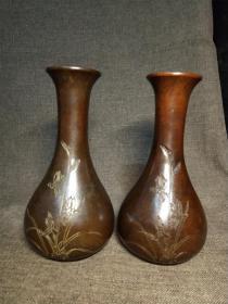 紫铜花瓶一对