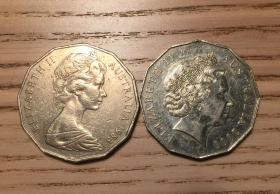 澳大利亚2000年50分千禧年纪念币和1983年流通50分一对伊丽莎白女王(鄙视刷屏卖假币的)