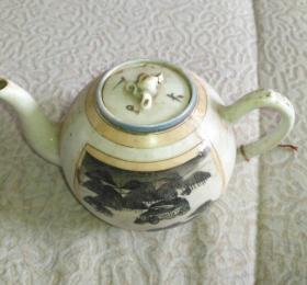 孤美完整民国绘汽车茶壶