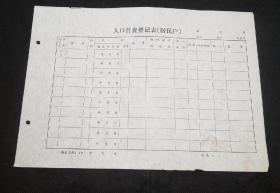 老版户籍档案史料:七十年代人口普查登记表(居民户)