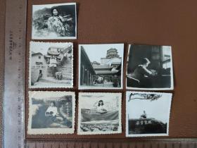 老照片:文革期间  个人在各种风景点的留影    黑白照片     共7张合售      文件盒九0014