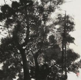 【展览作品 永久保真】人民大学彭华竞工作室画家 中央电视台主任编辑 国家广播电视总局美术家协会会员 任速雁 四尺斗方焦墨作品