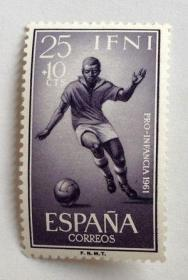 【外国邮品 西属463伊夫尼 1959 足球 邮票 】体育运动邮票