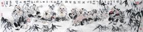 赵俊生  (竹林七贤)人物横幅 手绘国画作品