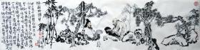 赵俊生  (听颖师弹琴)人物横幅 手绘国画作品