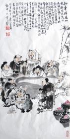 赵俊生  人物小中堂《饮中八仙》 手绘国画作品