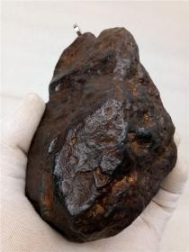 """陨石原石,顶级陨石,水冲陨石原石,天降""""珍宝""""的陨石,""""强磁性""""难得一见陨石近3斤重,皮壳漂亮,气印明显,比重大,非常难得,可遇不可求的天降陨石值得永久收藏"""