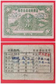 1958年高要县流动购粮证:半市斤