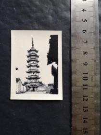 上海松江老照片 【西林塔 圆应塔】    约五六十年代   稀见  珍贵