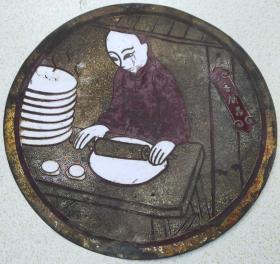民国时期铜板招牌《老字号香饼居》(景泰蓝铜条镶嵌工艺)规格:直径36厘米