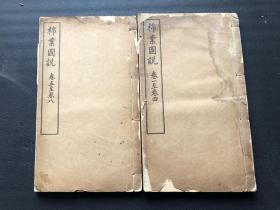 端木蕻良旧藏、稀见清代农书::《棉业图说》八卷上下两册全。有大量彩色及黑白图版。