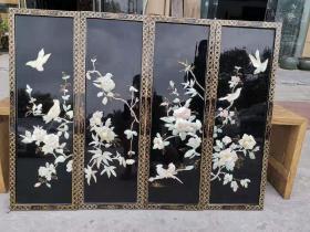 創匯時期漆器四條屏整體螺鈿鑲嵌《喜鵲登梅》制作精良,保存完整,品相好尺寸單片30/92