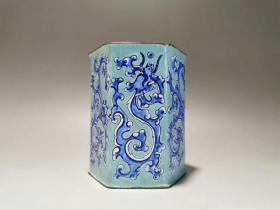 回流 建初国期,铜胎画珐龙琅纹笔筒,全品