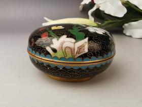 创汇期,景泰蓝,厚铜胎,内珐琅,印泥盒,带原装印泥,花卉图案,原盒子。