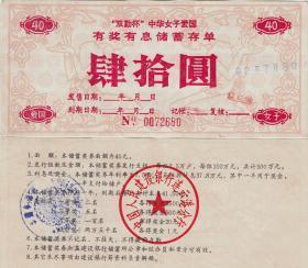 江苏省连云港市92年女子爱国储蓄存单40元 金融票证收藏