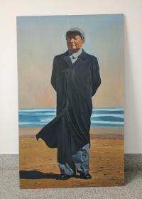 文革时期:毛主席在北戴河站像油画。