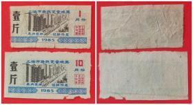 1985年上海市居民定量粮票:壹斤(2枚:1月份10月份)
