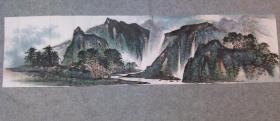 无款国画山水横幅 原稿手绘真迹 画心软片