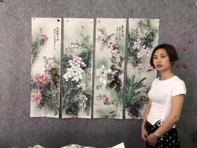 韦燕芳老师花鸟四条屏单幅尺寸100*30厘米*4幅一套只需429元包邮