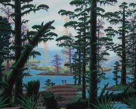 名家张世君画作---湖畔
