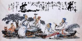 国家二级美术师盘定高老师四尺作品【茶道】140*70厘米