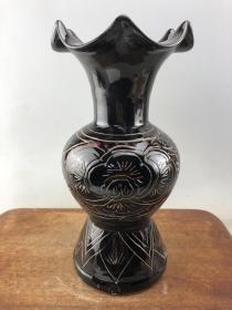 黑釉剔雕老瓷瓶B2785
