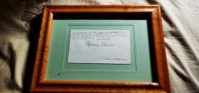 19世纪法国著名的现实主义小说家 阿尔丰斯·都德 著有《最后一课》亲笔手迹一件 并签名 已装裱