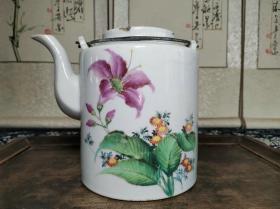 解放初期江西景德镇窑出品彩绘花卉纹饰大号铜提梁直桶茶壶
