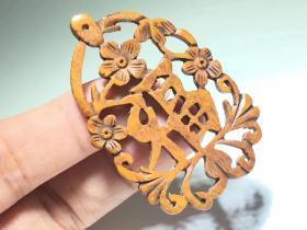 清中期玉化兽骨雕件