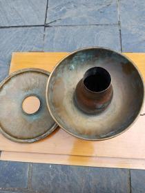 民俗老物件八十年代铜火锅(可用)中间炉体为紫铜