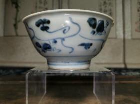 明代末年近400年历史青花灵芝纹碗残件