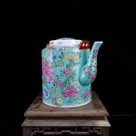 老厂货粉彩绿釉万寿无疆纹茶壶