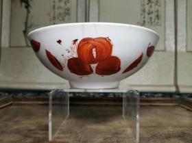 解放初期民间民俗日用老瓷器矾红寿纹大碗
