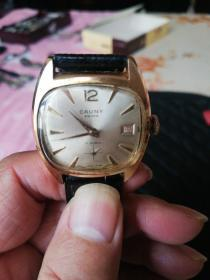 瑞士产镀金机械手表CAUNY牌
