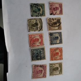 民国帆船邮票旧个别主图移位十枚