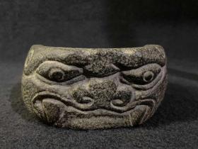 青石兽头盆·笔洗 建水石盆石雕石权