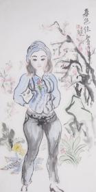 终身保真 王玉玺,四尺整张,有出版物号桃花园主,1965年生,甘肃泾川人。进修于解放军艺术学院,后学习于中央美术学院,中国美术家协会会员。1992年8月在广州举办个人画展;1993年10月在北京艺术博物馆举办个人画展;1994年9月在中国美术馆举办个人画展;1995年2月在中国国际贸易中心神州名人画廊举办个人画展;1996年8月在中国美术馆举办个人画展。在长期的艺术创作中,逐渐形成了自己的风格。