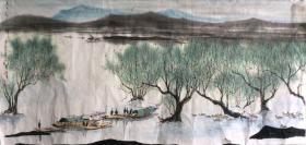 苏州著名画家 杨明义《春江水暖》画芯 江南水乡