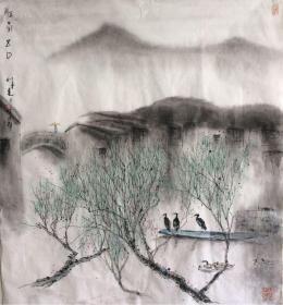 苏州著名画家 杨明义《江南五月》画芯 江南水乡