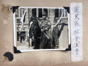 民国抗战时期日军上海浦东宪兵队骑在马上的板食军曹老照片