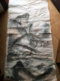 山水画【山水人物画。无款】尺寸133x67 ,出自名家之手