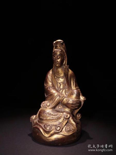 老竹雕漆金观音坐像