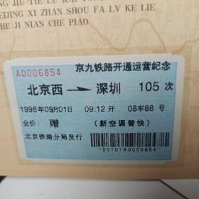 京九铁路开通纪念车票 单张价格。