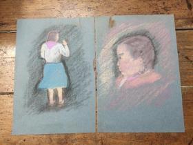 五十年代粉笔画——人物——两张合售——39