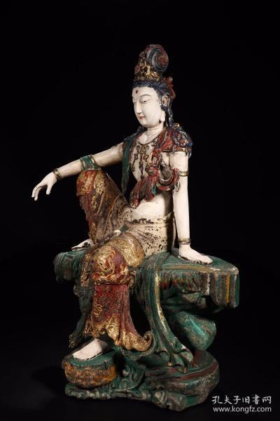 木雕漆彩自在观音坐像