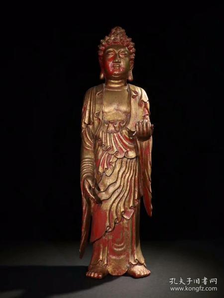 木雕漆金阿弥陀佛立像