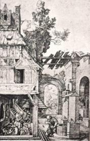 """""""巨幅丢勒名画""""1912年复刻版""""丢勒Albrecht Dürer""""系列铜版画 —《基督的诞生》42x32cm 原尺寸复刻"""