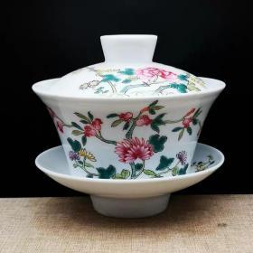 粉彩花卉纹盖碗三才杯茶杯