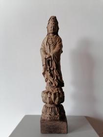 木雕观音立像