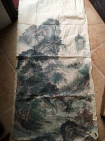 山水画【山水人物画。无款】尺寸130x67 ,出自名家之手